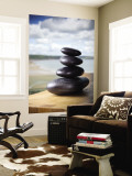 Hot Stones Spa Treatment at St. Brides Hotel and Spa with Saundersfoot Beach in Background Wall Mural by Huw Jones