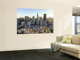 Transamerica Pyramid Building and Downtown from Top of Coit Tower Wall Mural by Emily Riddell