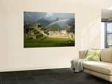 Rainbow over Incan Ruins of Machu Picchu Wall Mural by Emily Riddell