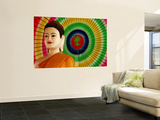 Buddha Statue and Colourful Parasol Vægplakat af Antony Giblin