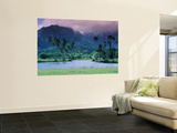 Looking across Tropical Landscape Up to Mt Waialeale from Hanalei Wall Mural by Ann Cecil