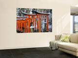 Orange-Red Gates (Tori) Lining Pathways of Fushimi-Inari-Taisha Shrine Wall Mural by Frank Carter
