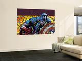 Captain America: Reborn No.4 Cover: Captain America Seinämaalaus tekijänä Bryan Hitch