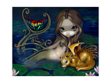 Mermaid with a Golden Dragon Affiche par Jasmine Becket-Griffith