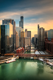Chicago City View Afternoon Fotografie-Druck von Steve Gadomski