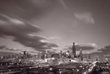 Chicago At Dusk BW Fotografie-Druck von Steve Gadomski