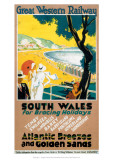 South Wales for Bracing Holidays, Atlantic Breezes and Golden Sands Giclee Print