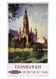 Edinburgh: The Scott Monument, BR, c.1950s Lámina giclée