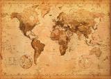 Mappa del mondo, vintage Foto