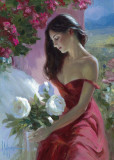 Dame in Rot Poster von Vladimir Volegov