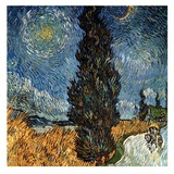 Country Road With Cypress And Stars Posters par Vincent van Gogh