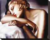 Die Schläferin Bedruckte aufgespannte Leinwand von Tamara de Lempicka