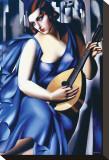 Femme en Bleu Avec Guitare Pingotettu canvasvedos tekijänä Tamara de Lempicka