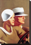 Couple Driving Stretched Canvas Print by Marcello Dudovich