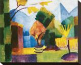 Garten am See Bedruckte aufgespannte Leinwand von Auguste Macke