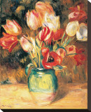 Vase with Tulips Stretched Canvas Print by Pierre-Auguste Renoir