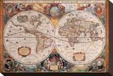 Antique Map, Geographica, Ca. 1630 Bedruckte aufgespannte Leinwand von Henricus Hondius