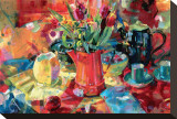 Pitcher of Flowers Stretched Canvas Print by Peter Graham