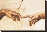 Skabelsen af Adam (detaljer) Opspændt lærredstryk af Michelangelo Buonarroti,