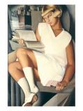 Kizette en Rose Premium Giclee-trykk av Tamara de Lempicka