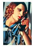 Le Telephone II Premium Giclee-trykk av Tamara de Lempicka