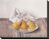 Three Pears On a Plate Trykk på strukket lerret av Arthur Easton