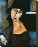 Jeanne Hebuterne Stretched Canvas Print by Amedeo Modigliani