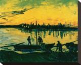 Unloading at Arles, c.1888 Trykk på strukket lerret av Vincent van Gogh