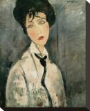 Woman in Black Tie, 1917 Toile tendue sur châssis par Amedeo Modigliani