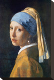 Das Mädchen mit dem Perlenohrring Bedruckte aufgespannte Leinwand von Johannes Vermeer
