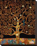 Sotto l'albero della vita Stampa su tela di Gustav Klimt