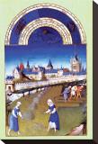 Les Riches Heures du Duc de Berry, Juin Opspændt lærredstryk