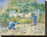 First Steps, c.1890 Trykk på strukket lerret av Vincent van Gogh