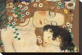 Mutter und Kind Bedruckte aufgespannte Leinwand von Gustav Klimt
