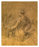 Lady with Angels Planscher av Parmigianino,