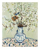 Blue and White Vase with Bird Poster von Suzanne Etienne