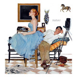 "One Way Affair  - Saturday Evening Post ""Leading Ladies"", September 10, 1955 pg.23 Giclée-Druck von George Hughes"