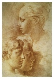 Three Profiles Affischer av Parmigianino,