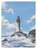 Lighthouse on the Rocks Poster by Robert G. Radcliffe