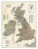 National Geographic - Kort over Storbritannien og Irland, professionel stil Posters