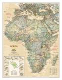National Geographics karta över Afrika, exklusiv stil, engelska Affischer