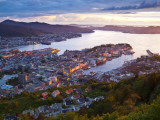 Elevated View over Central Bergen Illuminated at Sunset, Bergen, Hordaland, Norway Photographic Print by Doug Pearson