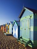Australia, Victoria, Melbourne; Colourful Beach Huts at Brighton Beach Reproduction photographique par Andrew Watson