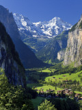 Switzerland, Bernese Oberland, Lauterbrunnen Town and Valley Photographic Print by Michele Falzone