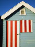 Australia, Victoria, Melbourne; Colourful Beach Hut at Brighton Beach Reproduction photographique par Andrew Watson