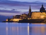 Malta, Valletta, Marsamxett Harbor and City Walls Photographic Print by Walter Bibikow