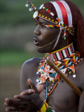 Kenya, Laikipia, Ol Malo; a Samburu Warrior Sings and Claps During a Dance Impressão fotográfica por John Warburton-lee
