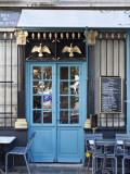 Blue Doors of Cafe, Marais District, Paris, France Stampa fotografica di Jon Arnold