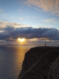 The Midnight Sun Breaks Through the Clouds at Nordkapp, Finnmark, Norway Fotografisk trykk av Doug Pearson