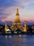 Thailand, Bangkok, Wat Arun ,Temple of the Dawn and Chao Phraya River Illuminated at Sunset Photographic Print by Gavin Hellier